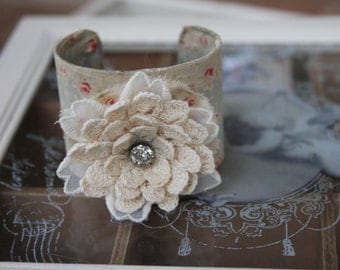 Shabby Chic Cuff Bracelet/Roses/Antique Button
