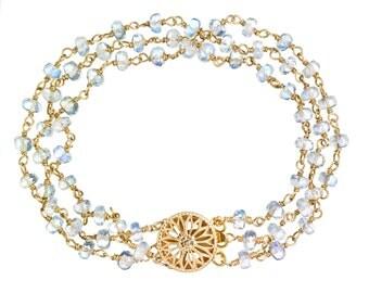 Triple Strand Moonstone Bracelet with 14k GF Flower Box Clasp