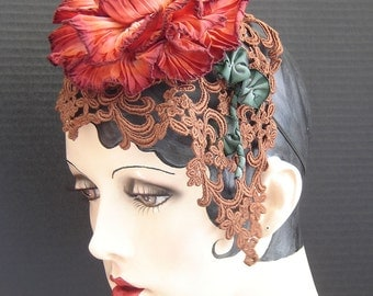 Peony Ribbon Flower Headpiece Fascinator