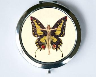 Art Deco Butterfly Flapper Compact Mirror Pocket Mirror
