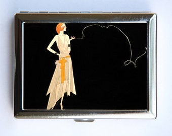Art Deco Flapper Women Cigarette Case id case Wallet Business Card Holder