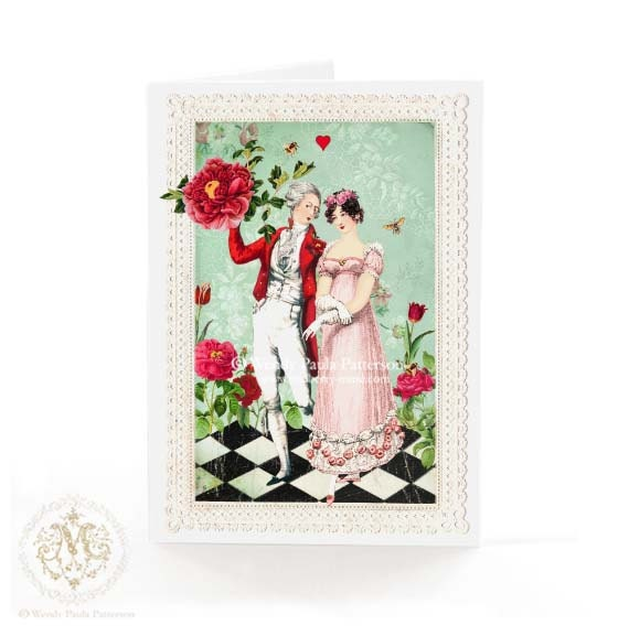 Valentine's Day Card, Jane Austen, Romantic Couple, Red Roses, Wedding, Engagement, Anniversary, Harlequin Pattern, Vintage lace, red heart