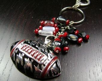 Houndstooth Football Key Chain / Purse Charm