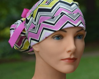 The Perfect Fit Ponytail Scrub Hat Original Design Best Fit Ever Pony Pouch - Wild Berry Chevron