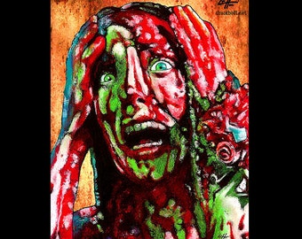 "Print 8x10"" - Carrie - Horror Stephen King Blood Pig Red Dark Art Vintage 70s Prom Night High School Telekinetic Scary Gothic Pop Art"