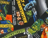 Robert Kaufman CLASSIC HORROR FILMS Frankenstein Spooky cotton fabric by the 1/2 yard