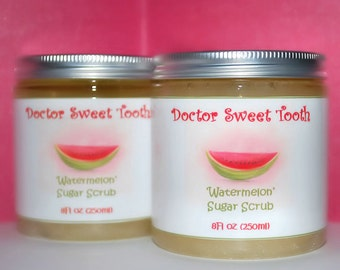WATERMELON Argan Oil & Shea Butter Sugar Scrub (Paraben Free) 8oz
