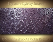 "ORIGINAL Modern Art Metallic Aubergine Eggplant Dusty Purple Painting Palette Knife Textured 48""x24"" by Susanna Made2Order"