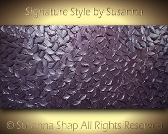 "Jewel Tones ORIGINAL metallic aubergine eggplant dusty purple modern art painting palette knife textured 48""x24"" by susanna made2order"