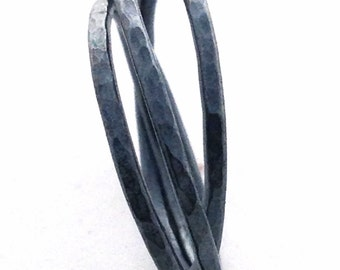 Silver Russian Wedding Ring Oxidized Black Trinity Ring Intertwined Ring Russian Wedding Band