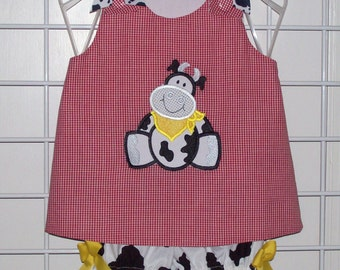 Cute Cow Applique Red Gingham A-line Top with Cow Print Bloomers Set  Cowgirl Birthday Party Farm Set