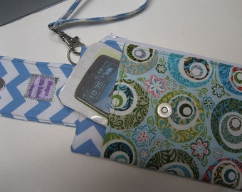 Womens Small Wristlet Wallet or Bag with Smart Phone Pocket Katie Fabric