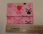 Medicine pouch coin trinket pink with pink hearts and black hearts