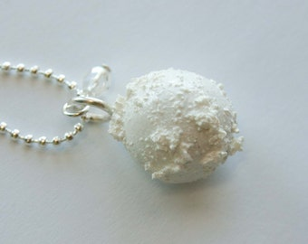 Snowball Necklace, Christmas Jewelry, Winter Necklace