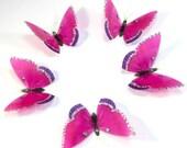 5 x Fuchsia Stick on Butterflies, Wedding Cake Toppers, 3D Wall Art, Scrapbooking Wall Decals