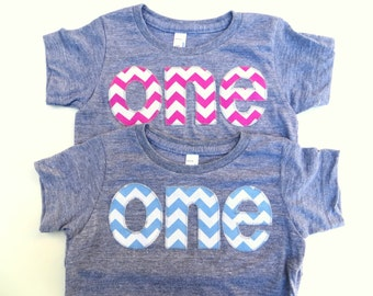 Boy or Girl First 1st Birthday Shirt pick one Chevron Number Birthday T Shirt  triblend grey Birthday Shirt Twins Triplets bro sis