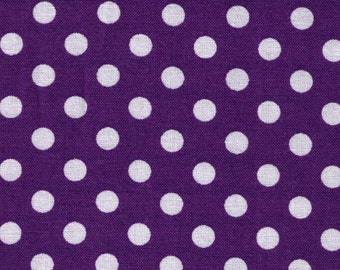 HALF YARD - Cosmo Textile Purple with White Polka Dots - Japanese Import Fabric