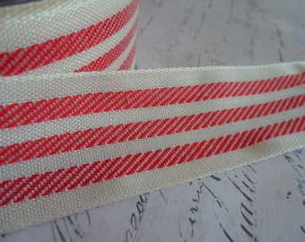 Soft Cream and Red Fabric Stripe Ribbon 1.25 inches wide