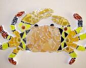 Crab, sea, ocean, yellow gold wall hanging, mosaic