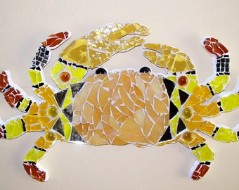 Crab, sea, ocean, yellow gold wall hanging, mosaic