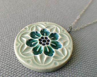 wildflower necklace, sage and peacock ... porcelain jewelry by Sofia Masri
