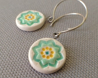 starflower earrings, aqua and yellow ... handmade porcelain jewelry by Sofia Masri
