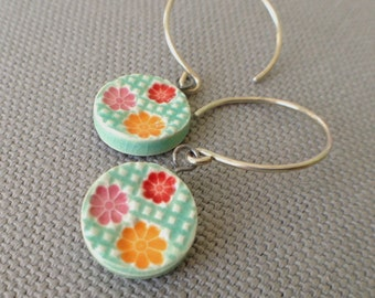garden gate earrings, aqua ... handmade porcelain jewelry by Sofia Masri