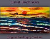 Art landscape painting abstract Ocean Sunrise art original Color Sky Vivid Beach art large acrylic painting on canvas by Tim lam 48x24x1.3