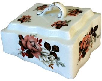 Cheese Keeper w/Roses - Vintage Transferware