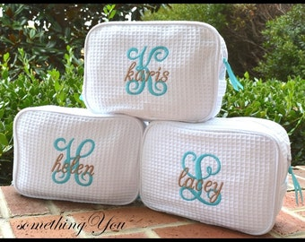 Waffle Weave Cosmetic Bags Set of 7, DOUBLE compartment Personalied Waffle Weave bridesmaids make-up bag, gifts for wedding party of seven