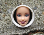 Upcycled Barbie Doll Face RING- white plastic cap