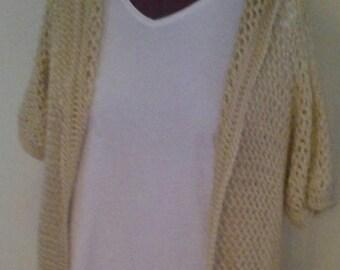 Crochet open mesh hood sweater plus size