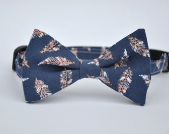 Navy Blue and Coral Peach Feather Bow Tie for Boys Toddlers Baby