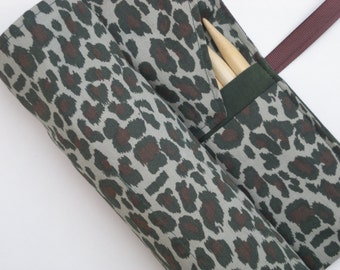 double pointed knitting needle case - organizer  - crochet hook - organizer - 28 pockets -animal print camo