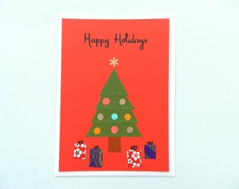 Happy Holidays Christmas tree - papercut collage card by Pauline Rousseau