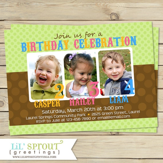 Triplet joint birthday invitation sibling birthday invitation il570xn stopboris Image collections