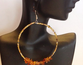 Golden Lights Beaded Hoop Earrings