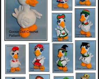 Goose Doll with Outfits Collection II Crochet Patterns, crochet goose, crochet outfits, crochet patterns