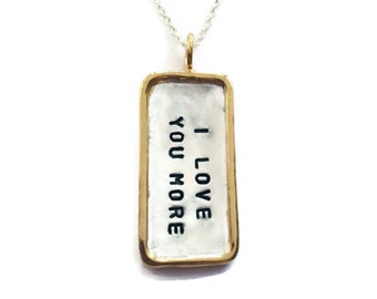 Gold rimmed tag necklace Hand stamped personalized jewelry