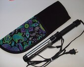 CURLING IRON BAG.....Black Purple lime green Paisley.....Insulated....Travel...Hair....Case...Bag