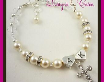 Initial personalized cross charm bracelet for baby and big girls -Christening Bracelet, Baptism First Communion Bracelet