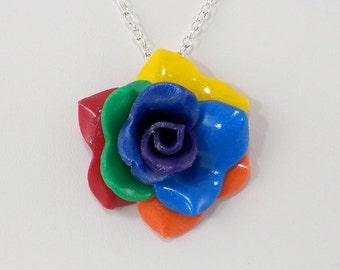 Rainbow Rose Pendant - Simple Rose Necklace - Rainbow Rose Necklace  - Handmade Wedding Jewelry - Polymer Clay Rose Pendant - #297