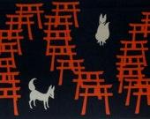 Tenugui Japanese Fabric Fushimi Inari Shrine Foxes and Torii Gates Motif w/Free Insured Shipping