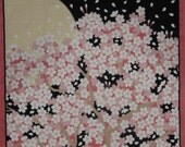 Sakura Furoshiki 'Cherry Blossoms in the Moonlight' Japanese Fabric Square Cotton 50cm w/Free Insured Shipping