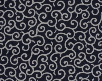 Furoshiki Navy 'Karakusa' Vines Motif Cotton Japanese Fabric w/Free Insured Shipping