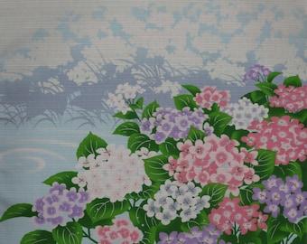 Furoshiki 'Hydrangea by the Pond' Cotton Hydrangea Fabric 50cm w/Free Insured Shipping