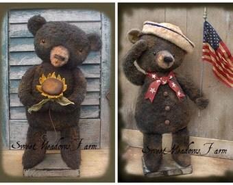 Primitive Summer Bears Sailor and Sunflower Doll E-pattern