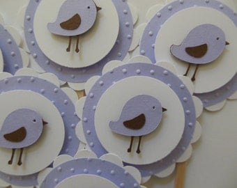 Bird Cupcake Toppers - Lilac - Girl Birthday Decorations - Girl Baby Showers - Set of 6