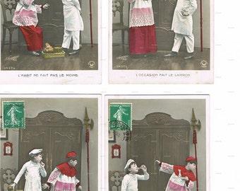 Postcards.Chef.Antique.LOT of FOUR.retro.Paris.french.rare.scrap book.baker.home decor.note.author.writer.carte fantasie.vintage.crafting.