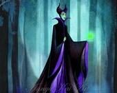 Maleficent - Dark Fantasy Wall Art - Disney Sleeping Beauty Evil Queen - Painting Print by Annya Kai